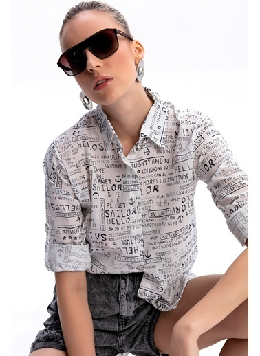 Emjey Yazı Baskılı Gömlek Beyaz